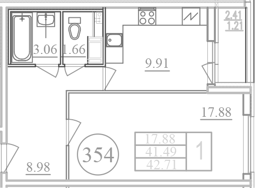 Планировка Однокомнатная квартира площадью 43.93 кв.м в ЖК «Фламинго»