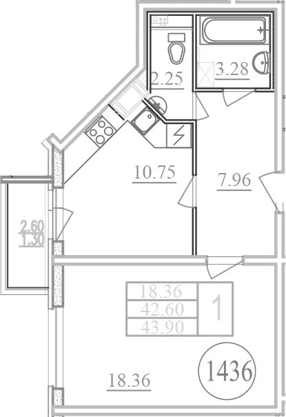 Планировка Однокомнатная квартира площадью 45.2 кв.м в ЖК «Фламинго»